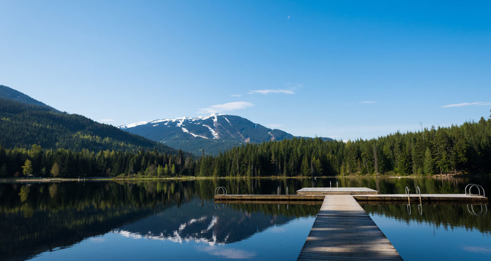Beautiful morning at Lost Lake with Whistler Blackcomb in the ba