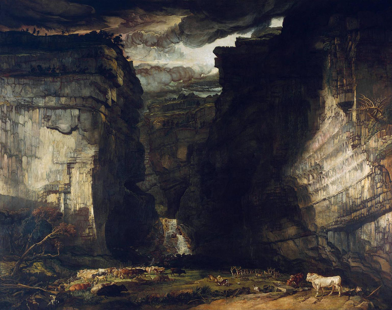Gordale Scar (A View of Gordale, in the Manor of East Malham in Craven, Yorkshire, the Property of Lord Ribblesdale) ?1812-14, exhibited 1815 by James Ward 1769-1859